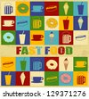 Fast food poster with food icons over vintage background, vector illustration - stock photo