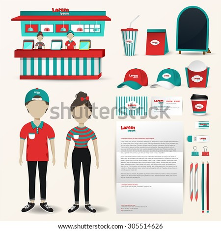 Fast food restaurant business uniform fashion, shop counter and packaging, banner brochure advertisement, and office stationary tool with brand icon layout for male and female employee (vector) - stock vector