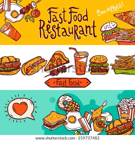 Fast food restaurant colored hand drawn horizontal banners set isolated vector illustration