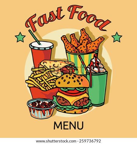 Fast food  restaurants hain menu advertisement poster with chicken hamburger soda drink and hotdog abstract vector illustration - stock vector