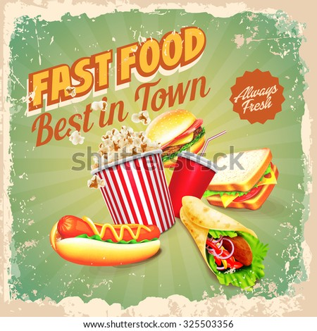 fast food retro best in town - stock vector