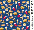 Fast food seamless pattern - stock vector