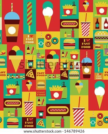 fast food seamless pattern design. vector illustration - stock vector