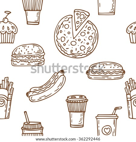Fast food seamless pattern. Hand drawn food background. Hot dog, hamburger, pizza, cupcake, coffee. Background template for restaurant design. Vector illustration - stock vector