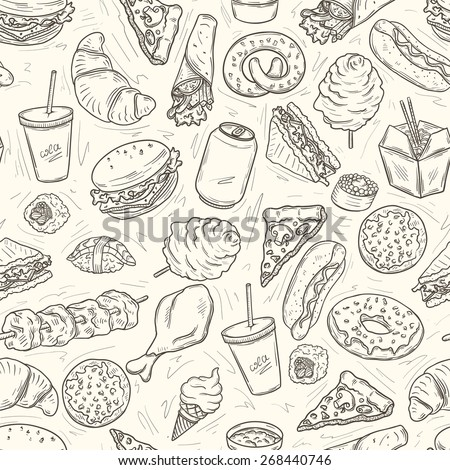 Fast food seamless pattern on beige background