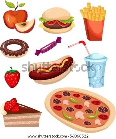 fast food set - stock vector
