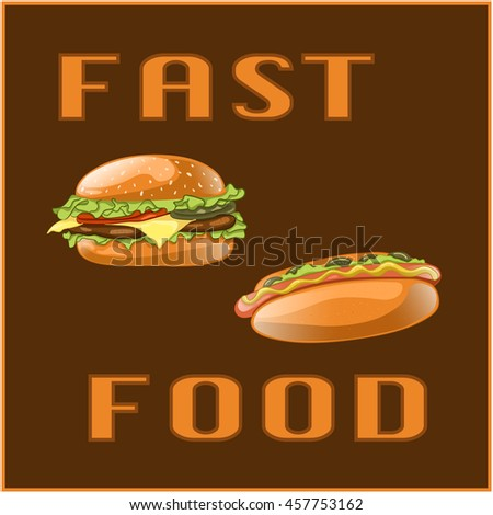 Fast food set for Menu Card, poster, brochure, web, mobile application. Colorful cartoon icons with meal isolated on brown background. Banner with hamburger and hot dog. Vector Illustration.