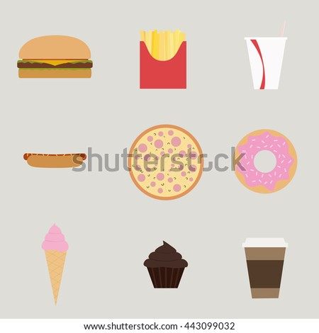 Fast Food set, hamburger, french fries, soda, hotdog, pizza, donut, ice cream, muffin, coffee cup.