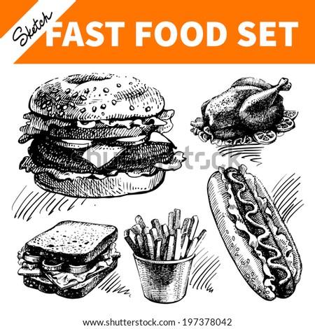 Fast food set. Hand drawn sketch illustrations  - stock vector