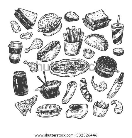 Unhealthy Foods Drawing