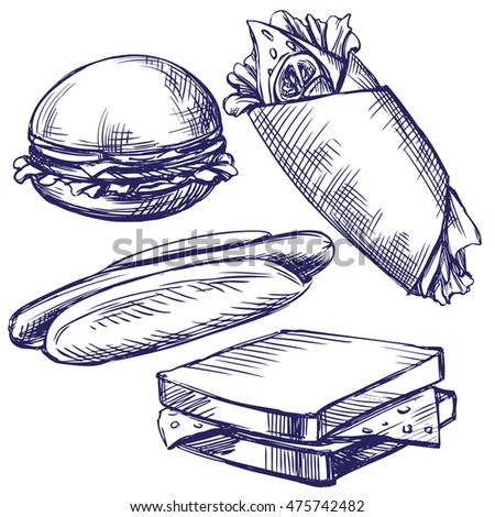 fast food  set hand drawn vector llustration  realistic  sketch