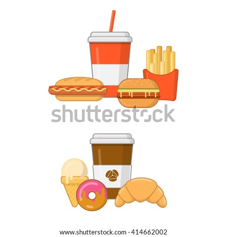 Fast food set in flat style on white background - stock vector