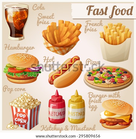 Fast food. Set of cartoon vector food icons. Ketchup, mustard, glass of cola, french fries, hamburger, sweet potato fries, burger with fried egg, pop corn, hot dog, pizza - stock vector