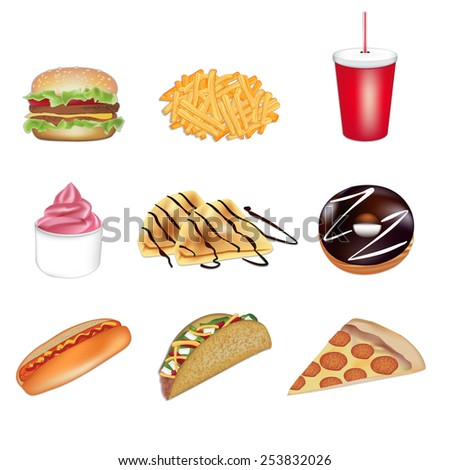 Fast food set of illustrations in vector format - stock vector