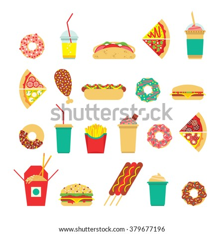 Fast food set. Vector fast food icons. Isolated fast  food. Flat fast food icons set. Colorful flat fast food icons.