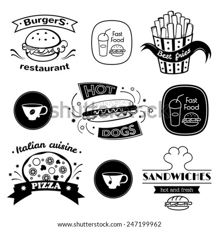Fast food signs set, retro typography, restaurant logos  - stock vector