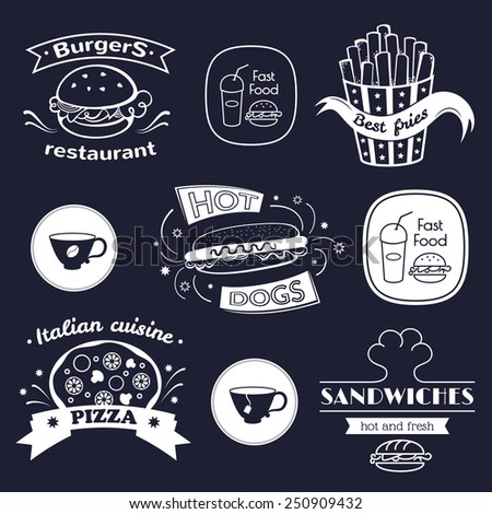 Fast food signs set, retro typography, restaurant logos  - stock vector