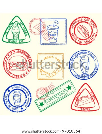 Fast Food Stamps Set             vector eps10 - stock vector