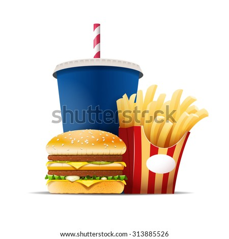 Fast food still life with a hamburger, fries and drink isolated on the white background vector illustration - stock vector