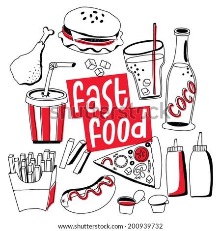 fast food vector: hamburger, soda, hot dog, pizza, sauce, chicken - stock vector