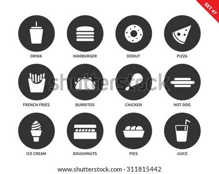 Fast food vector icons set. Eating and nutrition concept. Junk food items, hamburger, donut, pizza, fries, burritos, chicken, hotdog, ica cream, juice. Isolated on white background. - stock vector