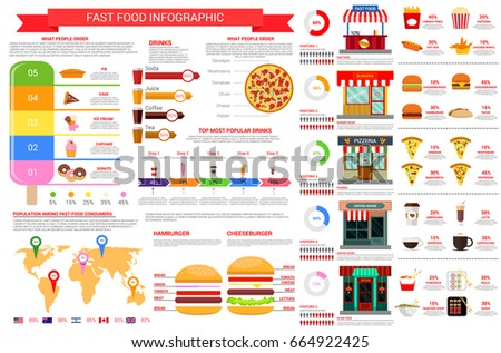 Fast Food Vector Infographics Template Elements Stock ...
