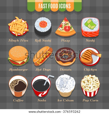 Fast Food Vector Isometric Icons Set - stock vector