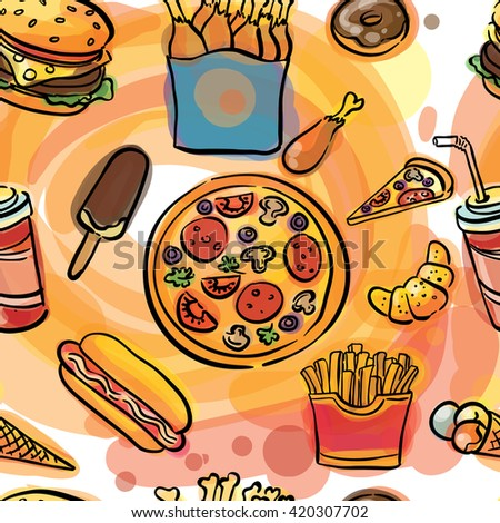 fast food watercolor sketch seamless