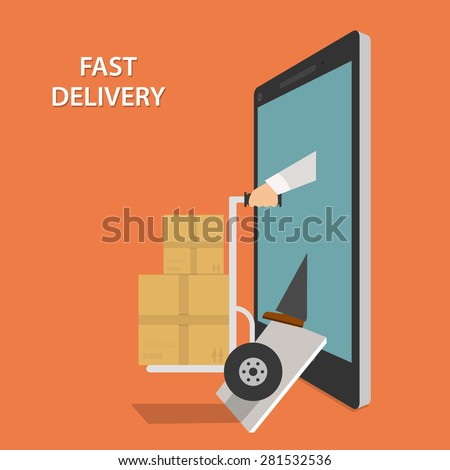Fast Goods Delivery Concept Flat Isometric Vector Illustration. Contains Image of Delivery Man With Hand Truck and Parcels Appeared From Smartphone or Tablet. - stock vector