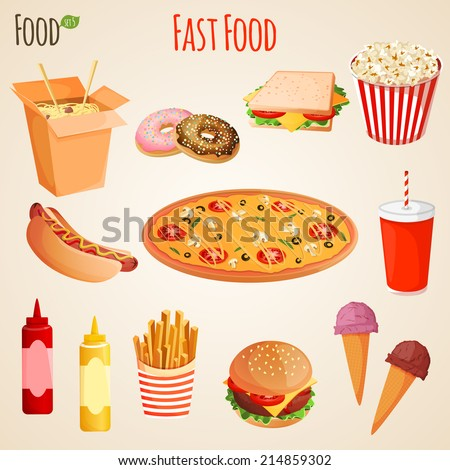 Fast junk food icons flat set of french fries hamburger soda drink isolated vector illustration - stock vector