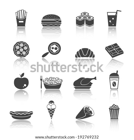 Fast junk food icons set of sandwich hot dog pizza hamburger  isolated vector illustration