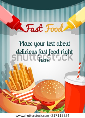Fast junk food poster with hamburger french fries drink vector illustration - stock vector