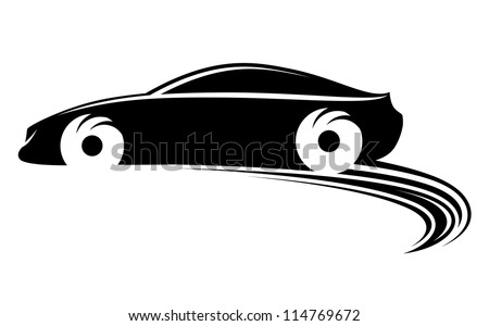 Fast moving car with tire shapes on rally racing. Jpeg version also available in gallery - stock vector