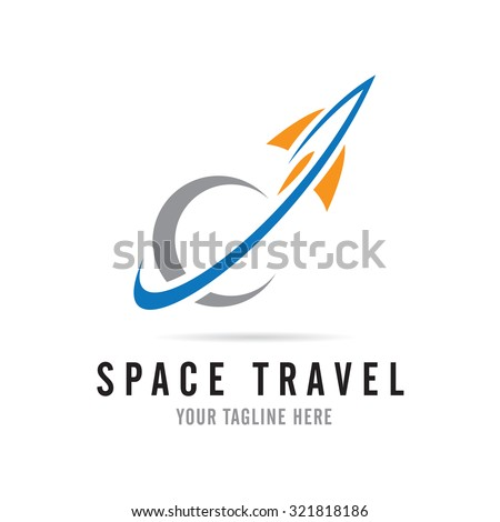 Fast rocket into space logo - stock vector