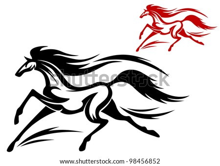 Fast running horse in vector for tattoo or mascot design, such  a logo. Jpeg version also available in gallery - stock vector