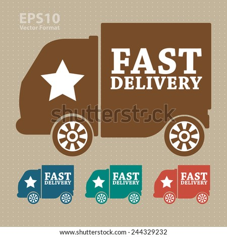 fast shipping icon, tag, label, badge, sign, sticker, vector format - stock vector