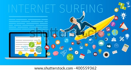 Fast speed mobile internet surfing. Businessman on surfboard. Flat design, vector illustration - stock vector
