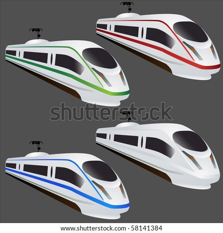 Fast train set isolated on grey vector - stock vector