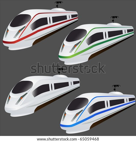Fast train set vector isolated on grey - stock vector