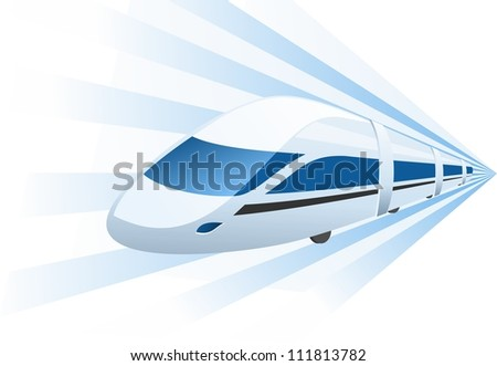 fast train speeding in motion - stock vector
