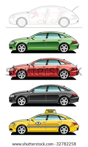 Fastback, taxi  (Simple gradients only - no gradient mesh.) - stock vector