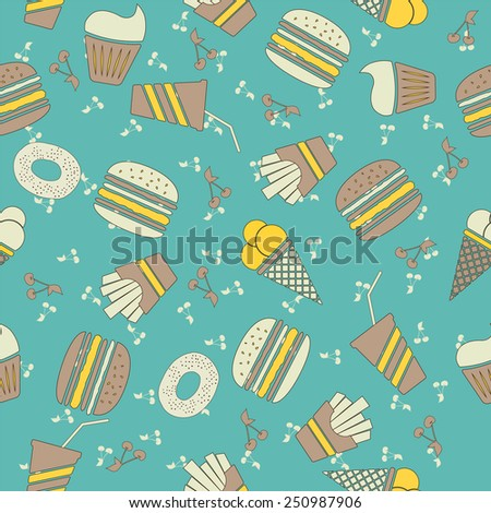 Fastfood delicious hand drawn vector seamless pattern. - stock vector