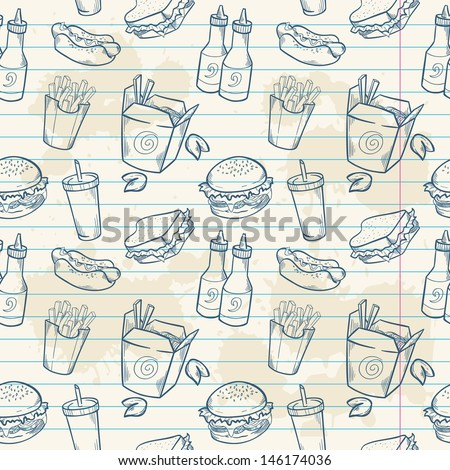 Fastfood delicious hand drawn vector seamless pattern with burger, hot dog and french fries on note paper sheet - stock vector