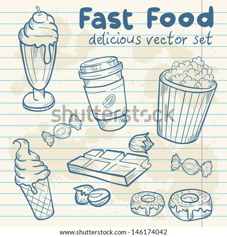 Fastfood delicious hand drawn vector set with tasty sweets, ice cream, Popcorn and chocolate on notepaper sheet - stock vector
