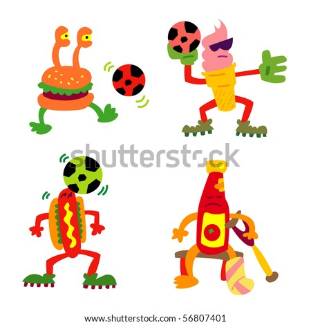 Fastfood Football characters. Set of 4. - stock vector