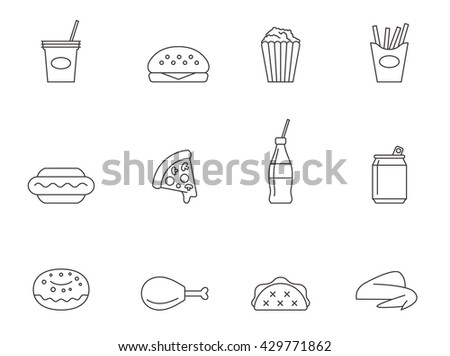 Fastfood icons in thin outlines. Junk food, unhealthy.