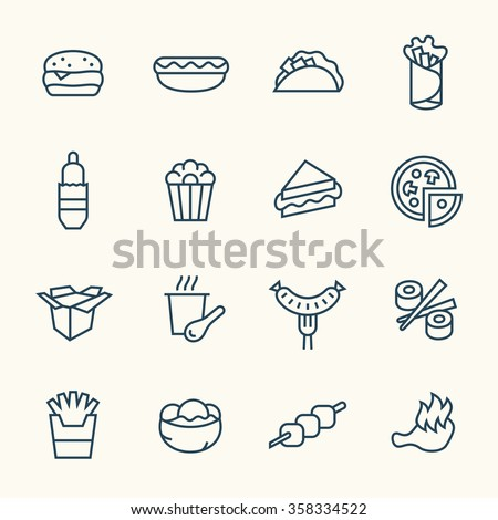 Fastfood line icon set - stock vector