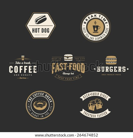 Fastfood Retro Vintage Labels as Logo design vector template set. Fast Food: Hot dog, Burger, Donut, Coffee, Beer Logotype icons. - stock vector