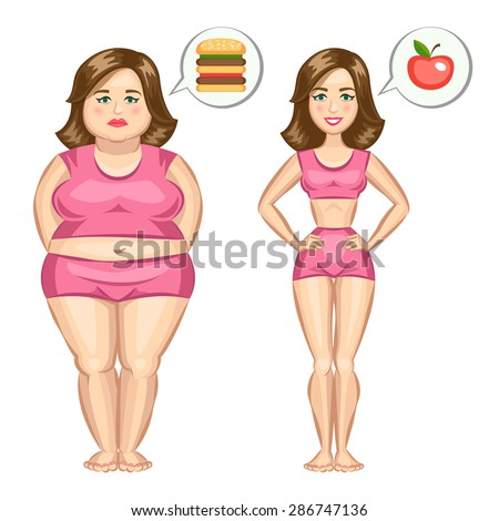 Fat and slim girl, weight loss concept. Vector illustration - stock vector