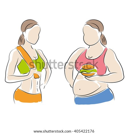 fat and slim woman figure. Thin woman after fitness, fat with a hamburger,vector illustration on white background - stock vector